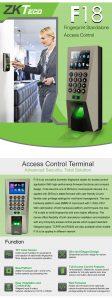 ZKTeco F18 Contrôle d'accès empreinte digitale