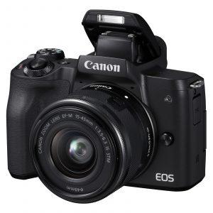 """Canon EOS M50 : des instants sublimés  Laissez parler votre créativité et explorez des émotions intenses avec l'appareil photo hybride Canon EOS M50. Ce modèle embarque un capteur CMOS de 24.1 mégapixels associé à un processeur puissant DIGIC 8. Elégant et moderne, il vous permettra de réaliser des vidéos en 4K, de prendre jusqu'à 10 images par seconde en rafale et de contrôler votre prise de vue depuis l'écran tactile orientable 3"""" ou le viseur électronique OLED. Il est accompagné de l'objectif stabilisé Canon EF-M 15-45 mm IS STP avec ouverture f/3.5-6.3. Paré pour le quotidien, le EOS M50 est connecté avec les technologies Wi-Fi, Bluetooth et NFC."""