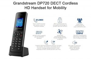 Détails  Le Grandstream DP720 DECT Wireless Handset est un téléphone VOIP sans fil DECT qui supporte une portée allant jusqu'à 300 mètres à l'exterieur et 50 mètres à l'intérieur depuis la station de base. Le DP720 offre une gamme de fonctions téléphonqiues utiles comme la prise en charge de 10 comptes SIP par combiné, une prise casque Jack 3.5, une prise en charge multilingue ainsi qu'une fonction haut parleur et mise en sourdine. Associé à la base DECT DP750 de grandstream, le DP720 offre un puissant combiné qui permet à tout utlisateur professionnel ou résidentiel de créer une solution VOIP sans fil. Le combiné sans fil Grandstream DP720 est équipé d'une prise micro USB, qui, une fois connectée, lui permet de fonctionner même sans batterie. Le combiné possède un écran LCD TFT couleur de 1,8 pouces ( 128x160 ) qui affiche les pages Menu et Contacts sans épuiser la batterie, qui peut tenir 250h en veille et 20h en communication.
